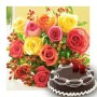 12 mix rose bunch with half kg chocolate cake