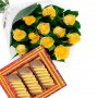 Yellow Roses with sweets
